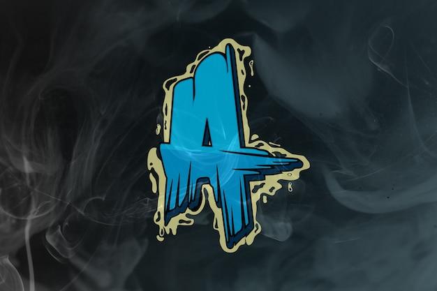 Logo esport monogramme acide isolé sur bleu