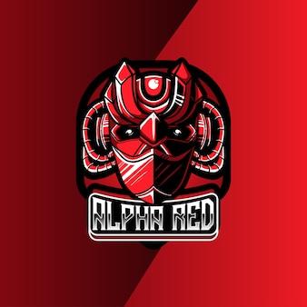 Logo esport avec personnage de robot rouge