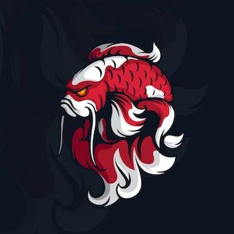 Logo d'esport de poisson koi en colère