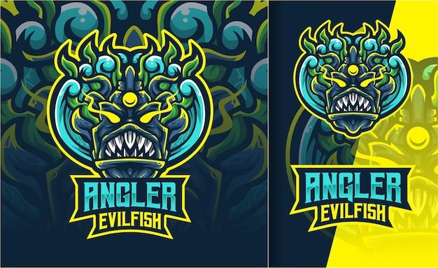 Logo d'esport de poisson maléfique de pêcheur