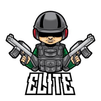 Logo esport soldat d'élite isolé sur blanc