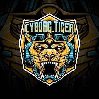 Logo esport tigre cyborg caractère