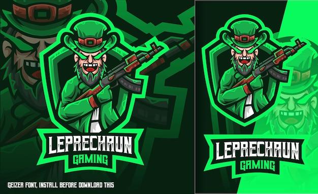 Logo esport vert de jeu leprechaun