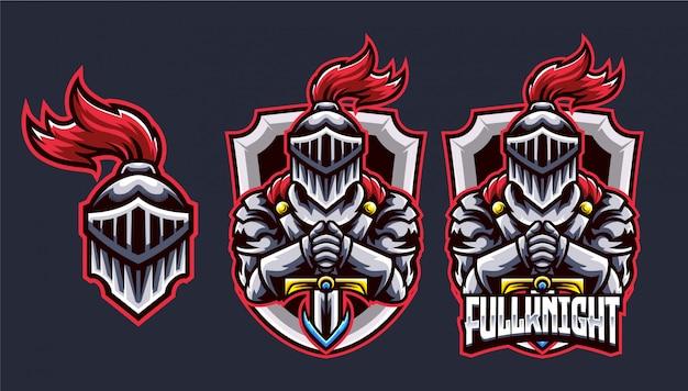 Logo esports de knight head et sword