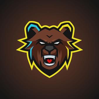 Logo d'esports de mascotte d'ours