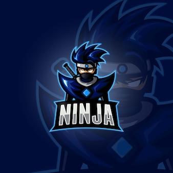 Logo esports ninja dessin animé bleu