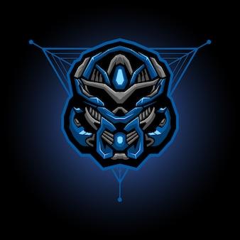 Logo esports tête de robot. mascotte de jeu de tête de robot.