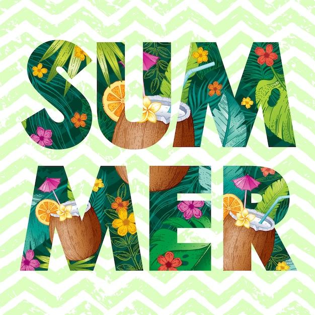 Logo d'été avec croquis cocktail de noix de coco et feuilles tropicales
