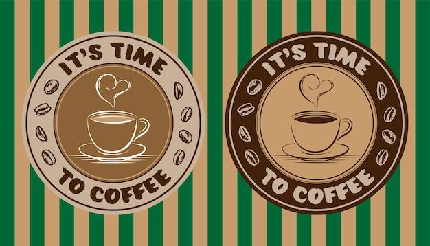 Logo étiquette café fumant en forme de coeur