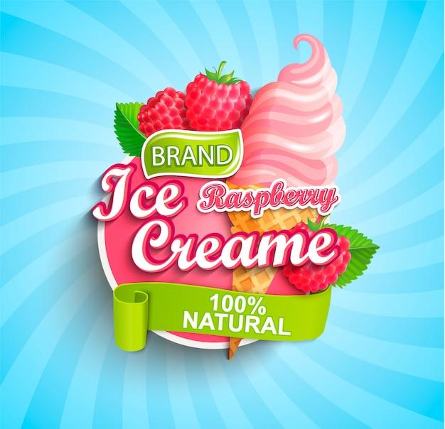 Logo, étiquette ou emblème de crème glacée à la framboise.