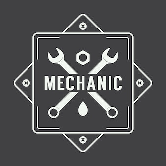 Logo étiquette mécanicien
