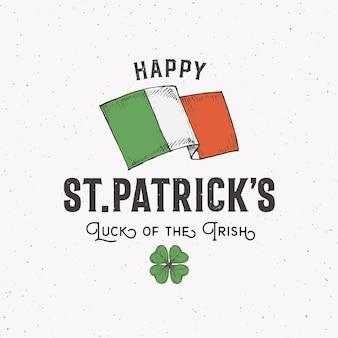 Logo ou étiquette de la saint patricks day de style vintage