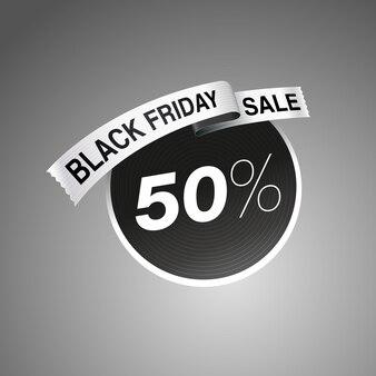 Logo d'étiquette de vente vendredi noir sur fond dégradé gris illustration vectorielle