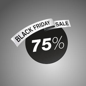 Logo d'étiquette de vente vendredi noir sur fond dégradé gris impression de ruban d'illustration vectorielle