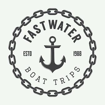 Logo, étiquettes et badges de rafting ou de location de bateaux vintage. illustration vectorielle