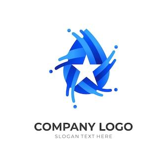 Logo étoile fraîche, eau et étoile, logo combiné avec style de couleur bleu 3d