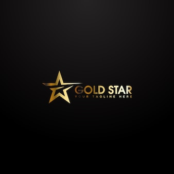 Logo étoile d'or avec une élégante couleur or sur fond noir.
