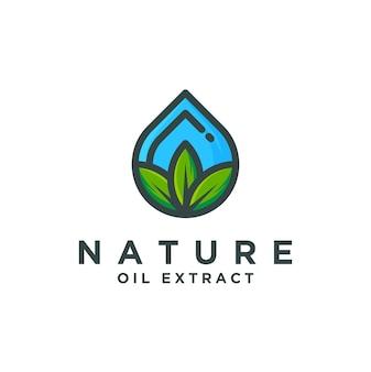 Logo d'extrait d'huile de nature, conception d'huile naturelle