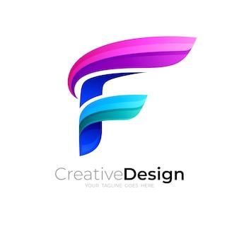 Logo f abstrait avec un design coloré 3d, simple