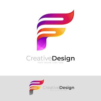Logo f avec illustration de conception simple, 3d coloré