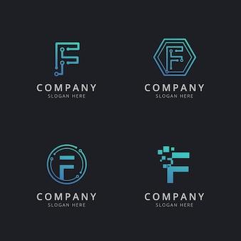 Logo f initial avec éléments technologiques de couleur bleue