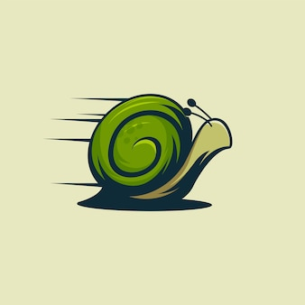 Logo fast snail, logo animal snail