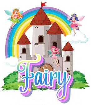 Logo de fée avec petites fées sur fond blanc
