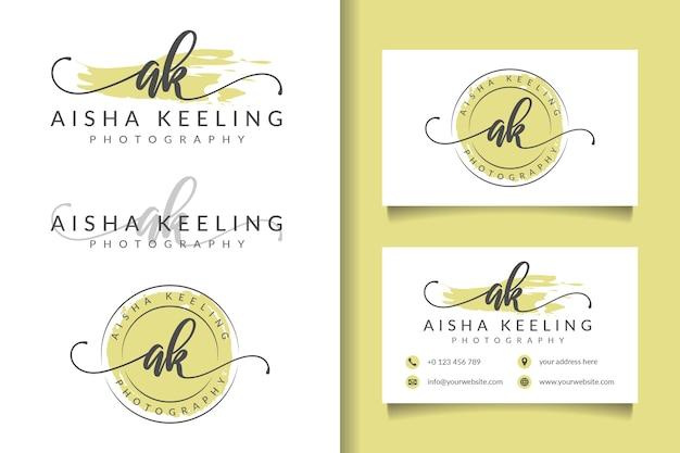 Logo féminin initial ak et modèle de carte de visite
