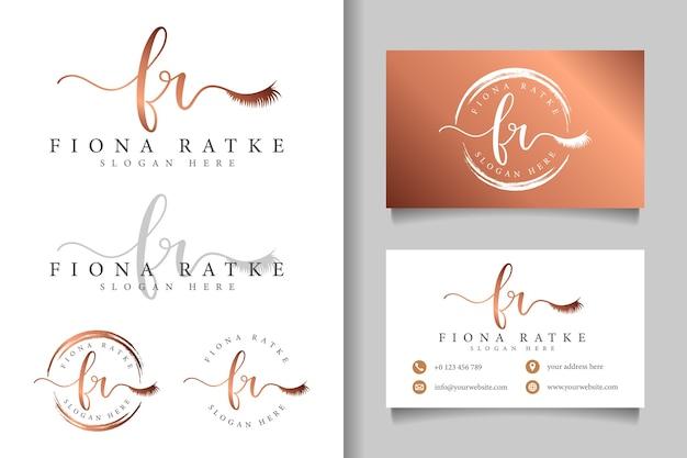 Logo féminin initial fr et modèle de carte de visite