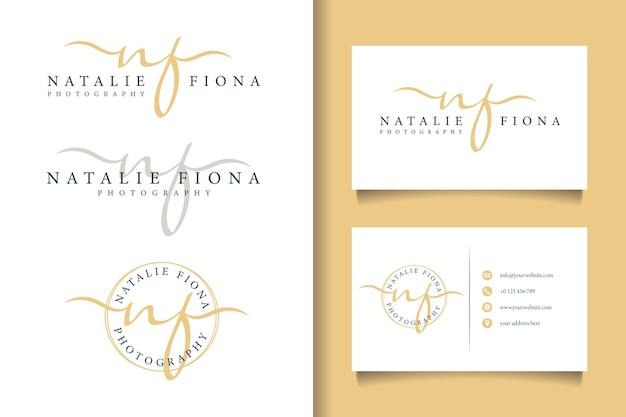Logo féminin initial nf et modèle de carte de visite