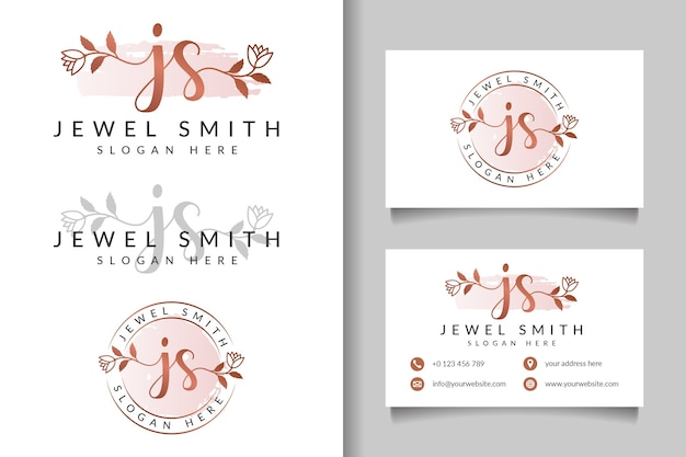 Logo féminin js initial et modèle de carte de visite