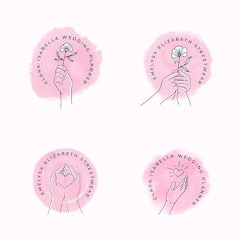 Logo féminin mains tenant des fleurs et des coeurs