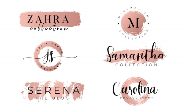 Logo féminin sur or rose