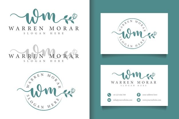 Logo féminin wm initial et modèle de carte de visite