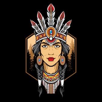 Logo de femme amérindienne