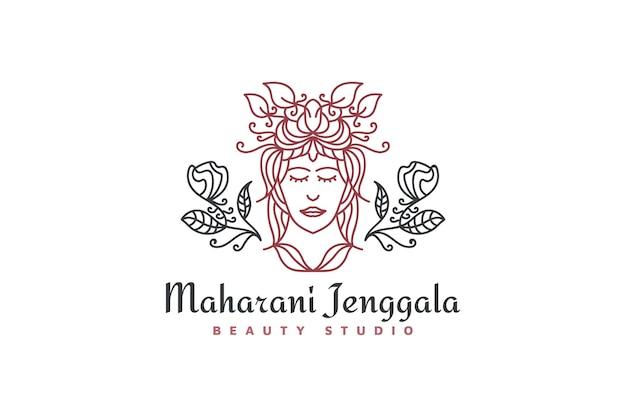 Logo de femme de beauté avec une coiffure élégante dans un concept linéaire et un style vintage