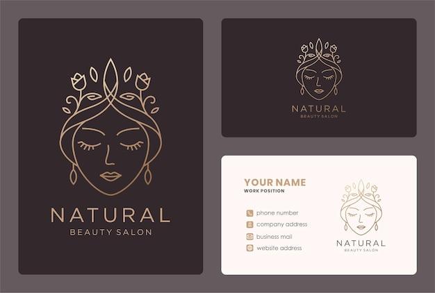 Logo de femme de beauté avec élément floral, conception de carte de visite.