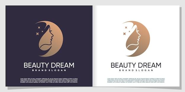 Logo de femme avec concept cool et beauté vecteur premium