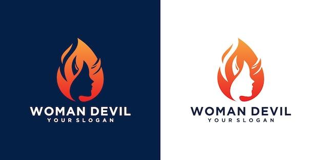 Logo de femme diable une combinaison de visage féminin et de feu