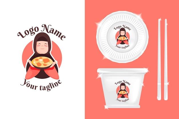 Logo femme mignonne pour les affaires culinaires