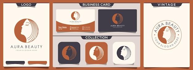 Logo de femmes de beauté avec ensemble de modèle de carte vintage et de visite