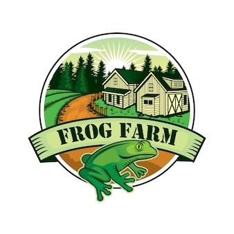 Logo de la ferme grenouille, badge industriel