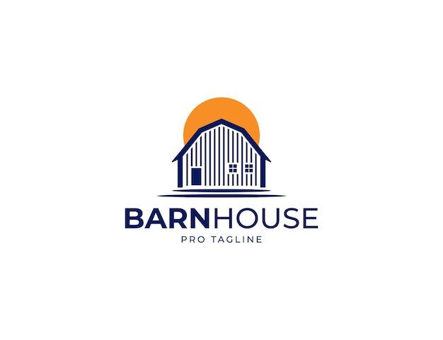 Logo de ferme de maison de grange avec illustration du coucher du soleil ou du soleil