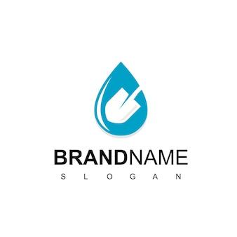 Logo de la ferme avec le symbole de l'eau et de la pelle