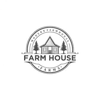 Logo de ferme vintage isolé sur fond blanc