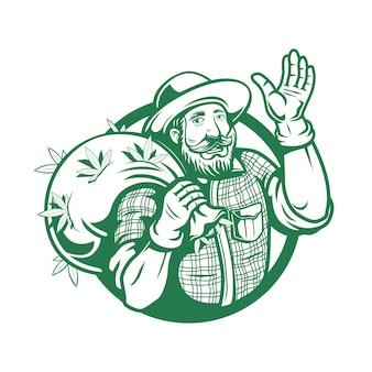 Logo de fermier de cannabis de marijuana
