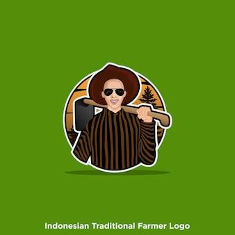 Logo de fermier traditionnel indonésien