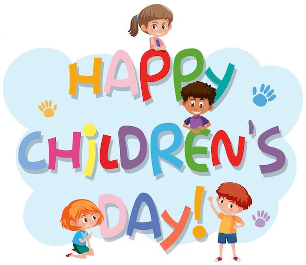Logo de la fête des enfants heureux