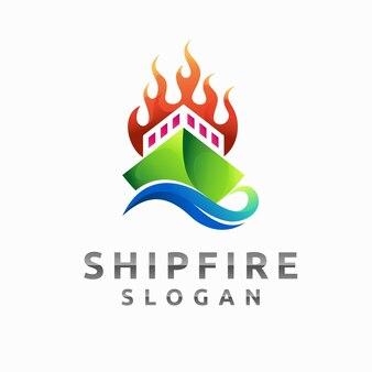 Logo de feu de navire avec concept de flammes