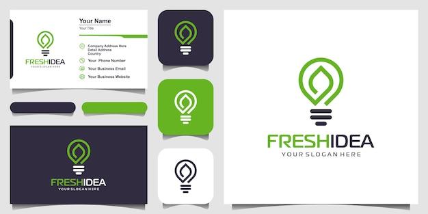 Logo de feuille d'ampoule et carte de visite.